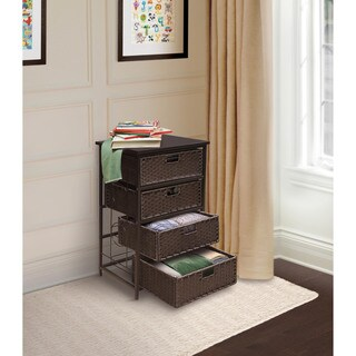 Badger Basket August Collection Tall Four Basket Storage Unit - Espresso