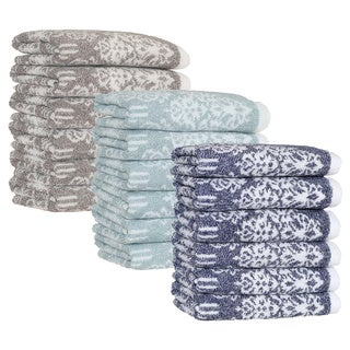 Authentic Hotel and Spa Margot Turkish Cotton Jacquard Washcloth (Set of 6)