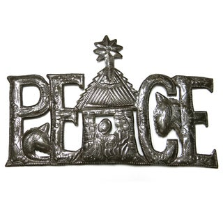 Handcrafted Recycled Steel Drum Holiday Peace Wall Art (Haiti)