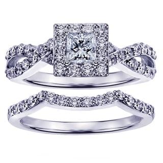 White Gold or Platinum 1 1/6ct Braided Princess Cut Diamond Engagement Wedding Band Set (G-H, SI1-SI2)