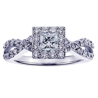 White Gold or Platinum 7/8ct Princess Cut Diamond Halo Engagement Ring in Braided Setting (G-H, SI1-SI2)