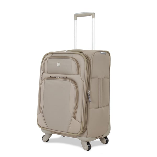 SwissGear Beige 21-inch Expandable Carry-on Spinner Upright Suitcase (As Is Item)