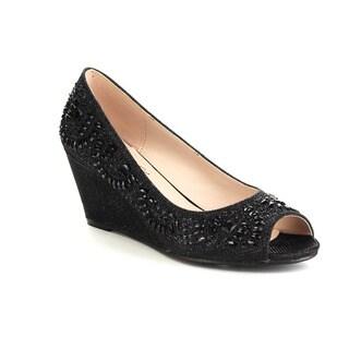 BELLA LUNA TRACI-08 Women's Peep Toe Wedge Slip On Rhinestone Deco Glitter Pumps