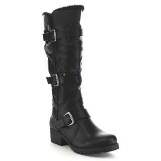 Beston BA43 Women's Lug Sole Fur Trim Buckle Strap Detail Knee High Riding Boots