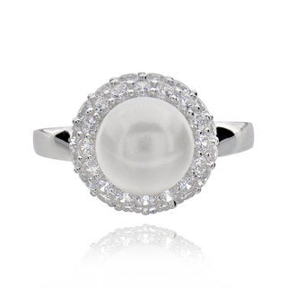 Sterling Silver Round Pearl and Cubic Zirconia Bridal Engagement Ring (China)