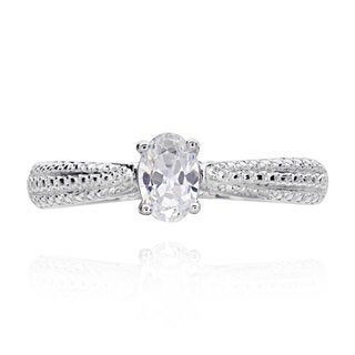 Sterling Silver 1/2ct TGW Oval Cubic Zirconia Bridal Engagement Ring (China)