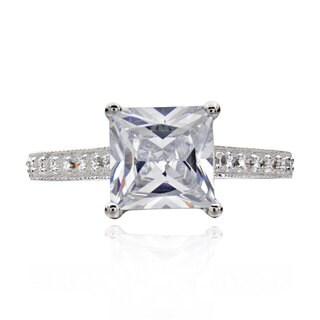Sterling Silver 2 3/4ct TGW Princess-cut Cubic Zirconia Bridal Engagement Ring (China)