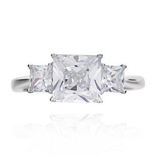 Sterling Silver 2ct TGW 3-stone Cubic Zirconia Bridal Engagement Ring (China)