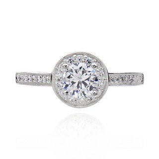 Sterling Silver 3/4ct TGW Round Cubic Zirconia Bridal Engagement Ring (China)