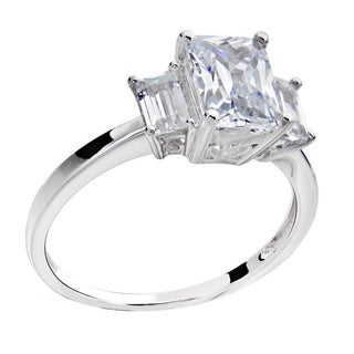 Sterling Silver 1 3/4ct TGW 3-stone Cubic Zirconia Bridal Engagement Ring (China)