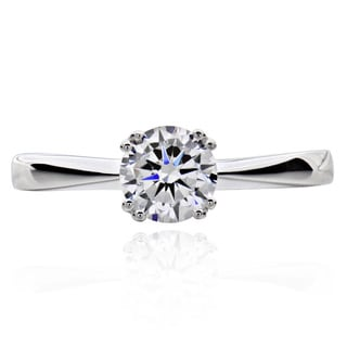 Sterling Silver Round-cut Cubic Zirconia Bridal Ring (China)