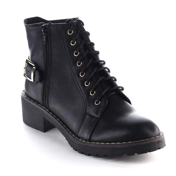Beston BA21 Women's Lace Up Side Zipper Lug Sole Chunky Heel Ankle Booties