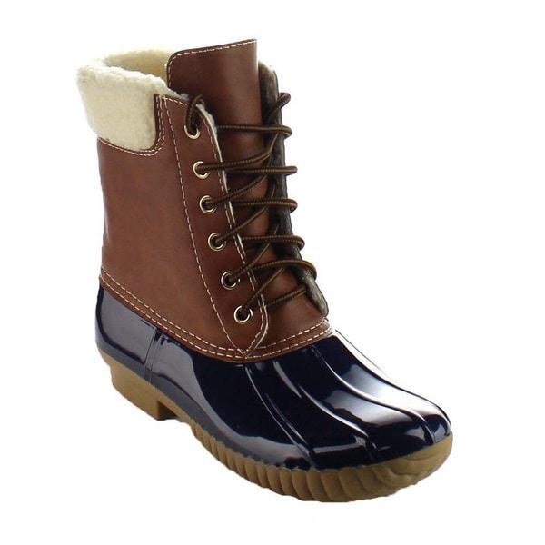 Beston BA15 Women's Two Tone Faux Fur Shearling Lace Up Waterproof Duck Boots