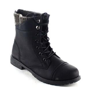 Beston BA12 Women's Knitting Top Lace-up Lug Sole Back Zip Mid Calf Combat Boots