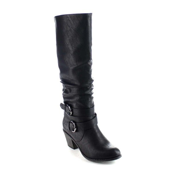Beston BA19 Women's Buckle Strap Elastic Back Chunky Heel Knee High Riding Boots