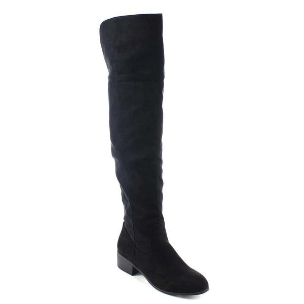 Beston BA10 Women's Chunky Heel Side Zip Open Back Top Over The Knee Riding Boot
