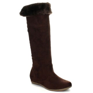 Beston CB02 Women's Flat Fold Over Snug Fit Knee High Boots