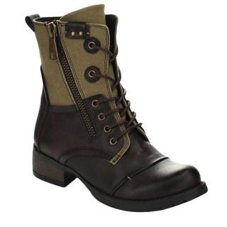 Beston CB04 Women's Low Heel Zipper Two-tone Lace-up Combat Booties