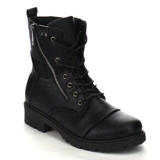 Beston CB03 Women's Block Low Heel Side Zipper Lace Up Combat Booties