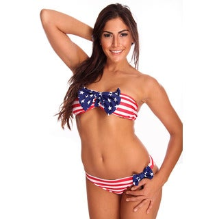 Dippin' Daisy's Women's Red, White and Blue Bandeau Bikini