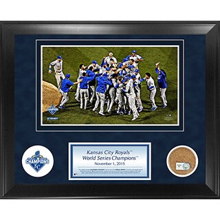 Kansas City Royals 2015 World Series Champions 11x14 Framed Collage with Game Used Dirt from Kauffman Stadium World Series Game