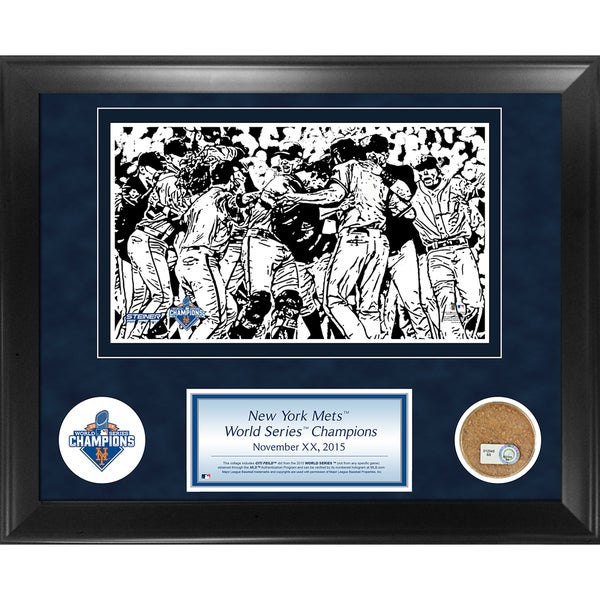 New York Mets 2015 World Series Champions 11x14 Framed Collage w/ Game Used Dirt from Citi Field World Series Game