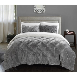 Chic Home Chiara Pinch Pleated Ruffled and Pintuck Sherpa Lined Grey 7-piece Bed In a Bag Set