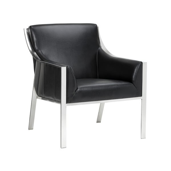 Sunpan Black Leather Hyde Arm Chair