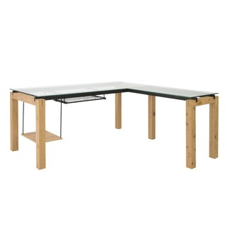 Ballard L Desk - Oak/Clear