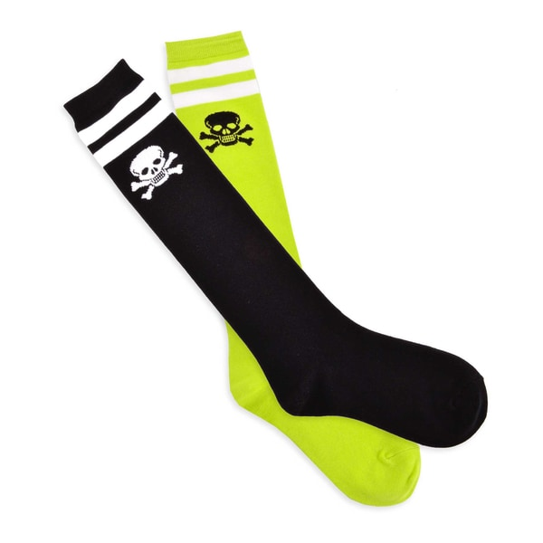 TeeHee Skull Varsity Pirate 2-Pair Pack Cotton Knee High Socks for Junior and Women