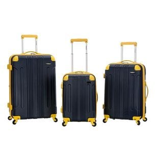 Rockland Navy/Yellow Lightweight Expandable Hardside 3-piece Spinner Upright Luggage Set