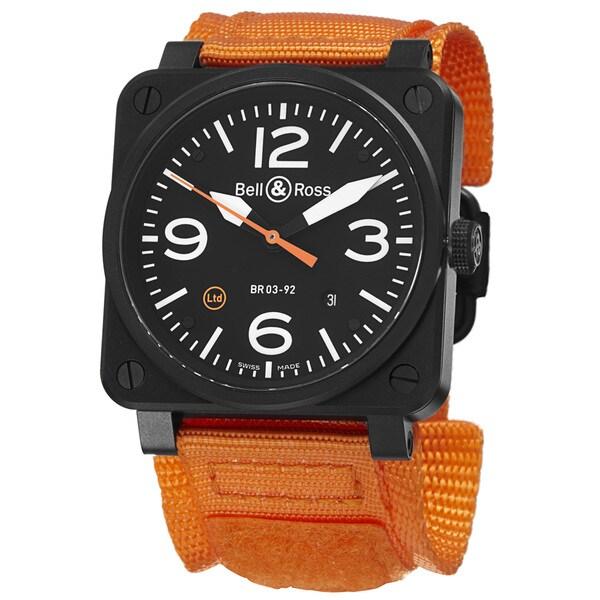 Bell & Ross Men's BR03-92 CARBON ORANGE 'Aviation' Black Dial Black/Orange Strap Swiss Automatic Watch