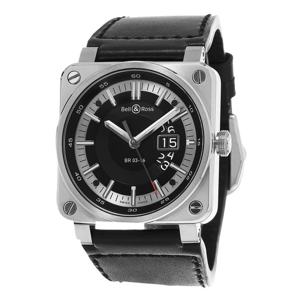 Bell & Ross Men's BR03-96 GRANDATE 'Aviation' Black Dial Black Leather Strap Swiss Automatic Watch