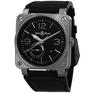 Bell & Ross Men's BR03-97 POWER RESERVE 'Aviation' Black Dial Black Leather Strap Swiss Automatic Watch