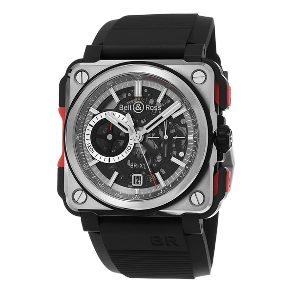 Bell & Ross Men's BRX1-CETIRED 'Aviation' Skeleton Dial Black Rubber Strap Titanium Swiss Automatic Watch