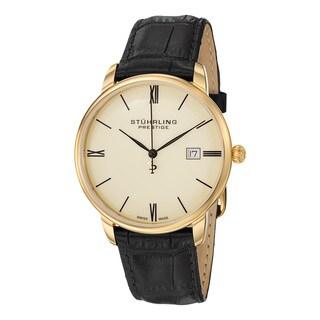 Stuhrling Prestige Men's Swiss Quartz Kingston Leather Strap Watch