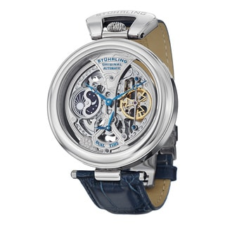 Stuhrling Original Men's Automatic Skeleton Emperor's Grandeur Leather Strap Watch