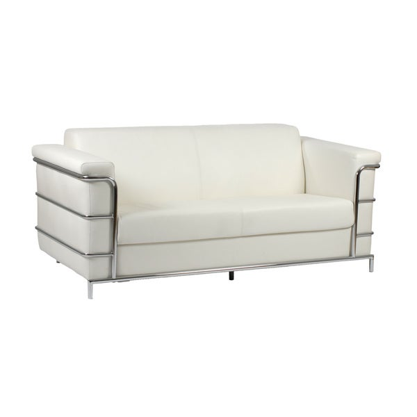 Leonardo White Leather Sofa