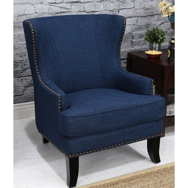 Somette Grant Roma Blue Wing Chair