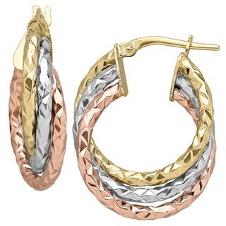 14K Tri Color Polished and Diamond Cut Triple Wavy Hoop