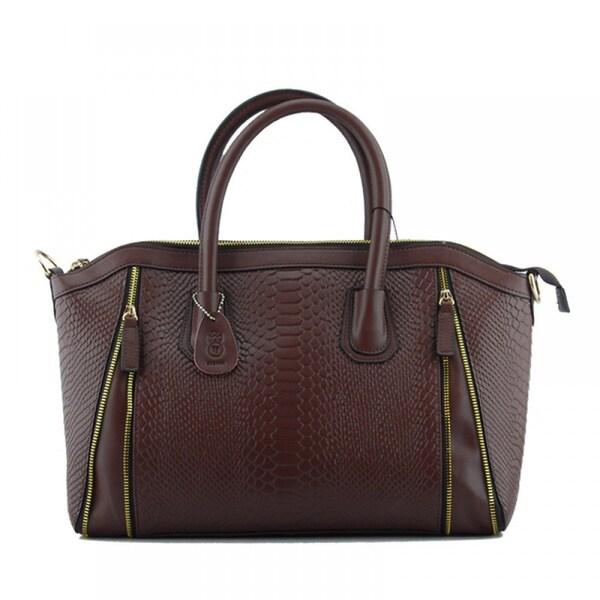 Eastside 2-Column Zipper Snake Pattern Leather Shoulder Handbag