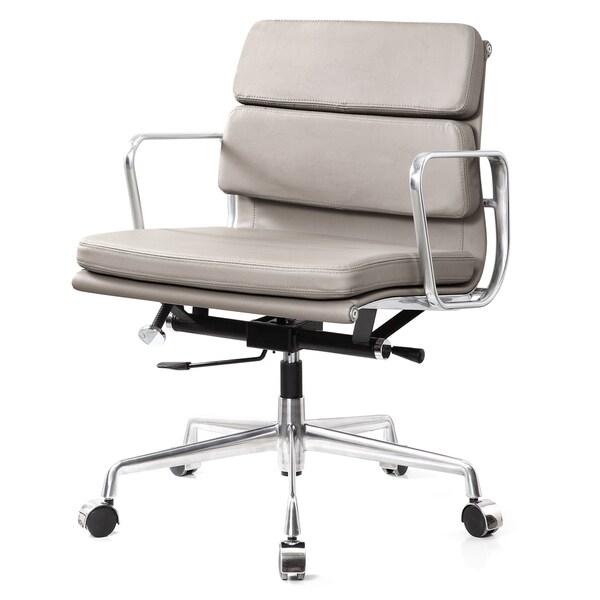 Tre Grey Italian Leather Office Chair