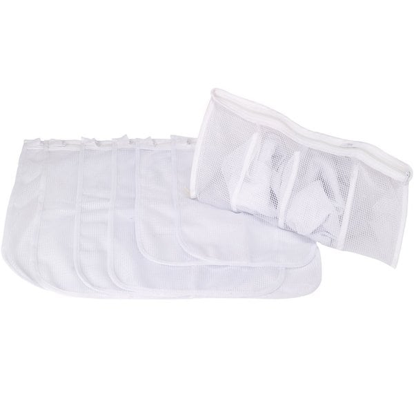 StorageManiac Durable White Laundry Mesh Wash Bags for Delicates Pack of 7
