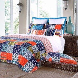 Arianna Teal Oversized Cotton 3-piece Quilt Set