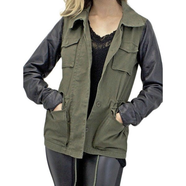 Women's Mixed Media Military Parka