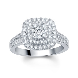 Divina 10k White Gold 1ct TDW Diamond Halo Engagement Ring (I-J, I2-I3)