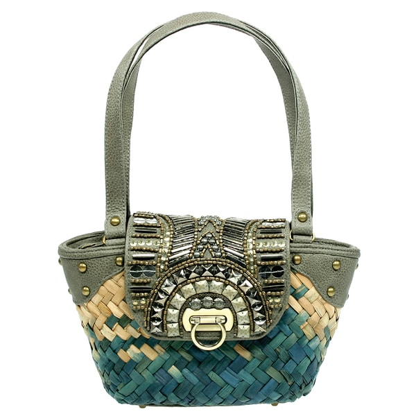 Beaded Fabric Grass Roots Handbag