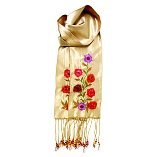 French Linen Floral Embroidered Scarf