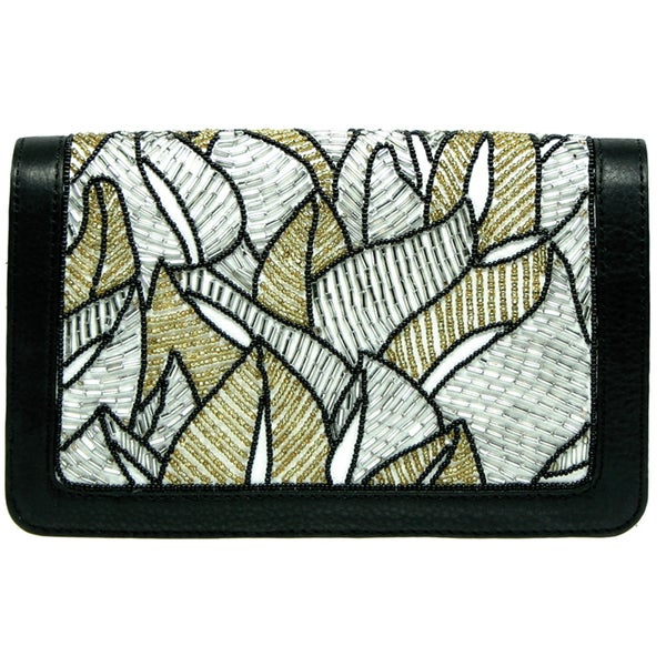 Mary Frances Beaded Fabric Fine Lines Wallet