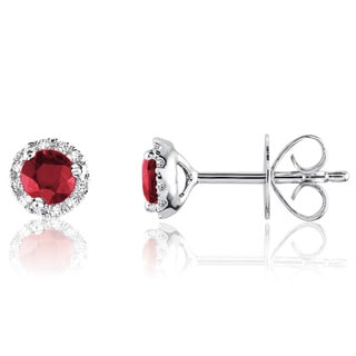 10k White Gold Round Ruby Diamond Martini Earrings
